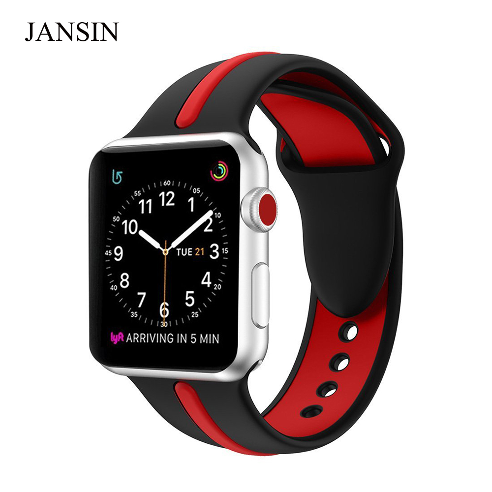 JANSIN Soft Silicone Replacement Sports Band For Apple Watch Series 1/2/3 /4 38mm 40mm 42mm 44mm Wristband Strap Bracelet apple watch band 38mm 42mm secbolt metal replacement wristband sport strap for apple watch nike series 3 series 2 series 1
