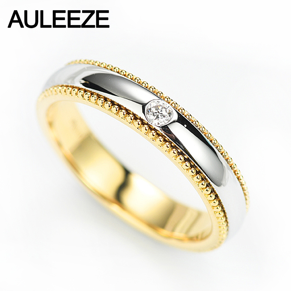 AULEEZE 0 04ct Natural Diamond Ring Solid 14K Yellow White Gold Turn Rings For Women Anniversary