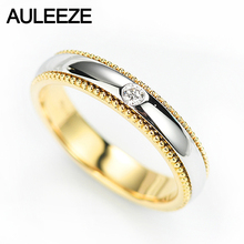 AULEEZE 0.04ct Natural Diamond Ring Solid 18K Yellow White Gold Turn Rings For Women Anniversary Gift