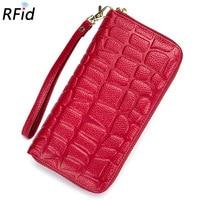Luxury Brand Designer Genuine Leather Long Women Wallet Female Card Holder Coin Phone Alligator Large Handy