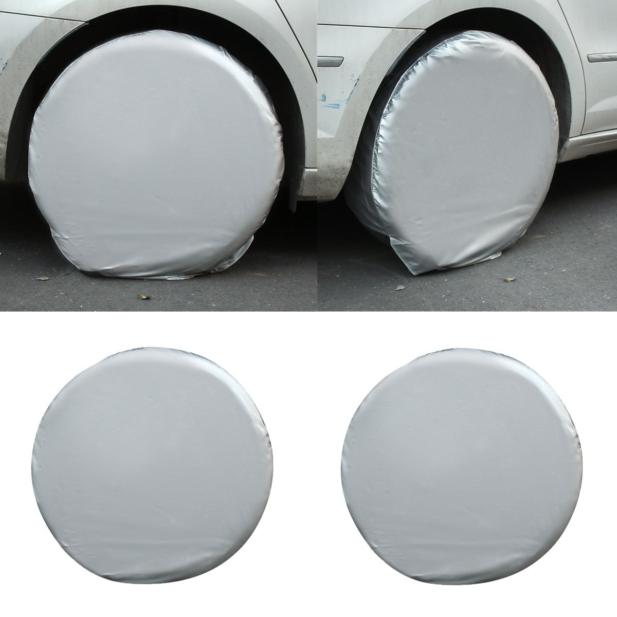4PCs/Set 27''-29'' Car Auto Spare Wheels Tire Tyre Cover Heavy Duty Car Waterproof Tire Cover For RV Truck Trailer Motorhome pvc car spare 15 tire tyre cover black yellow white