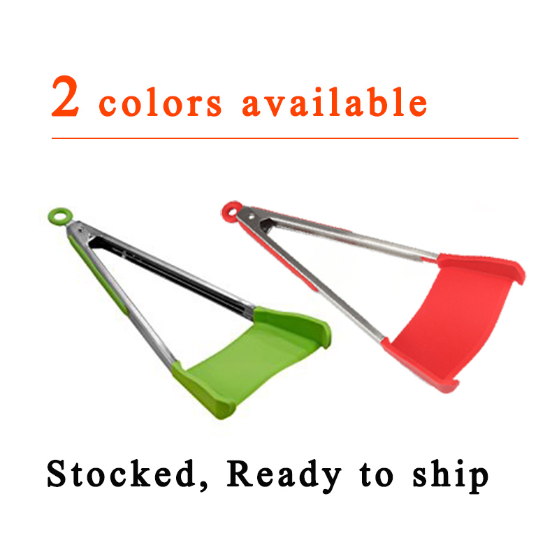 Clever Tongs 2 in 1 Kitchen Spatula and Tongs Non-Stick Stainless Steel The Ultimate 2-in-1 Kitchen Helper Smart Tongs