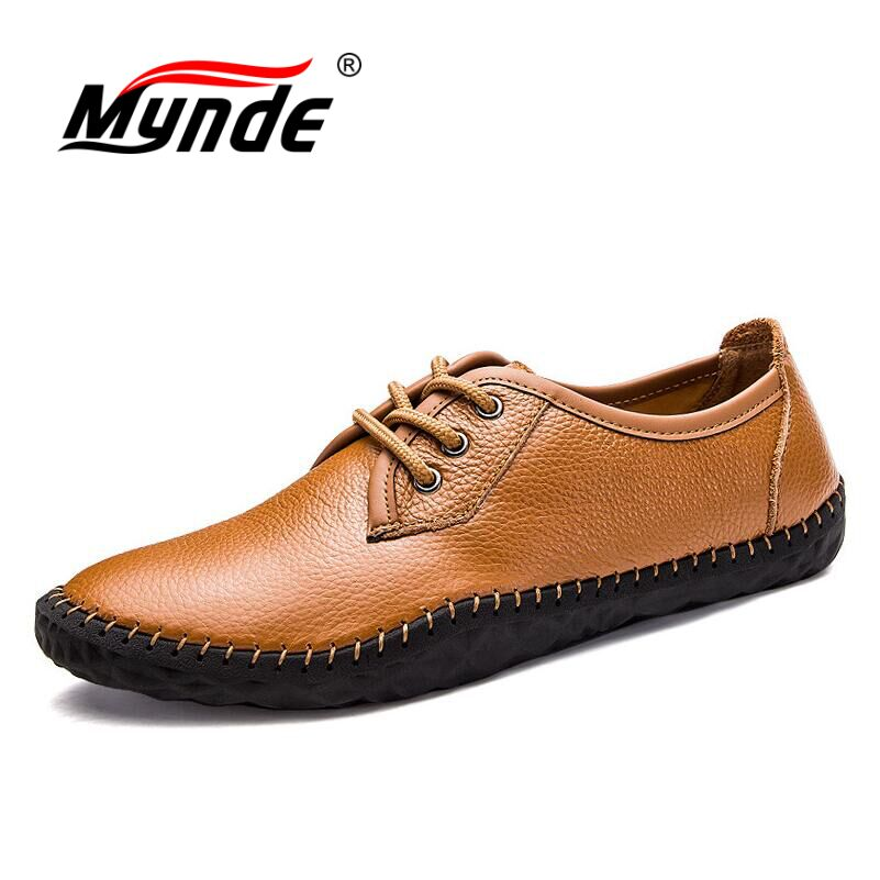 MYNDE New Autumn Spring Mens Casual Shoes Moccasins Genuine Leather Krasovki Men Loafers Luxury Brand Fashion Men Boat Shoes