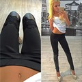 2016 Autum fashion PU Leather Jeggings Sexy Women Skinny PU Leather Stretch Slim Lace Pants Jeggings Free Shipping for Hot Sale