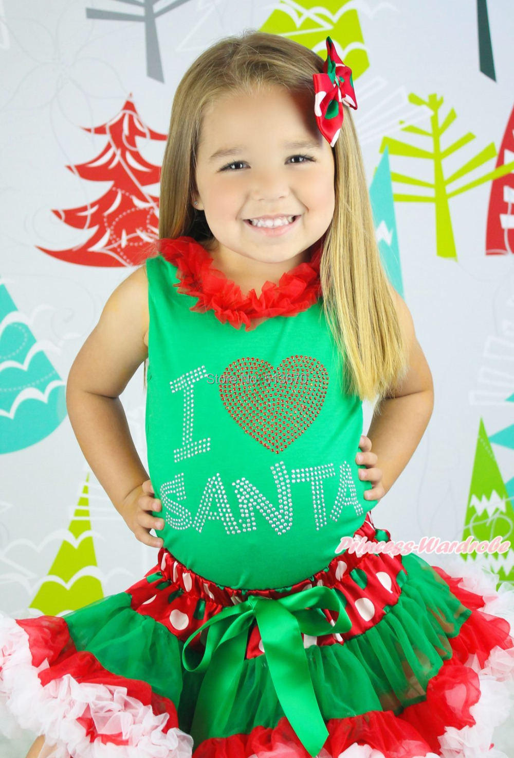 XMAS Rhinestone I LOVE SANTA Top Baby Girl Red Green White Dot Skirt Set 1-8Year MAPSA0081 st patrick s day green clover white top satin trimmed baby girl skirt set 1 8y mapsa0394