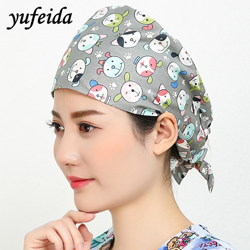 DoctorPrinting Surgical Scrub Cap Adjustable Medical Caps Hospital Scrub Lab Clinic Dental Operation Hat Doctor Nurse Cap