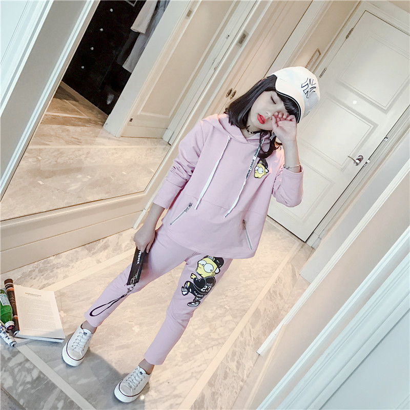 Teenage Girls Fashion Clothing Set Autumn Kids Teens Sports Suit Long Sleeve Cartoon Hooded Pullover Sweatershirts + Pant 5-13t autumn winter girls children sets clothing long sleeve o neck pullover cartoon dog sweater short pant suit sets for cute girls