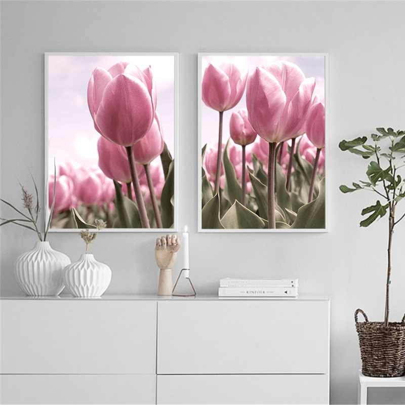 Nordic Art Poster Pink Tulip Canvas Painting Flower Posters and Prints Minimalist Wall Pictures for Living Room Home Decoration