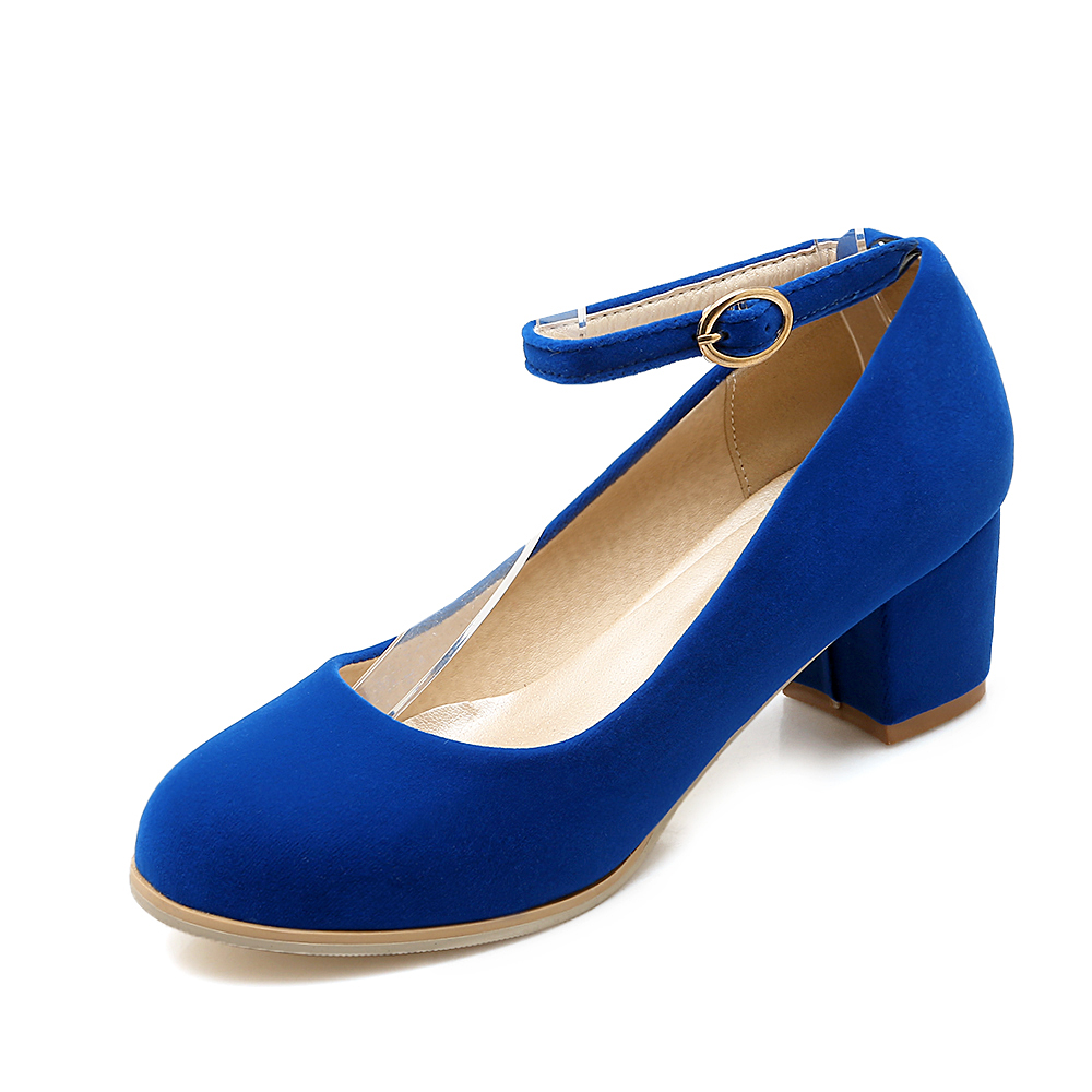 ФОТО Hot trendy sweet style round toe zapatos mujer high quality PU buckle strap women shoes big size 44 45 46 47 med heel pumps
