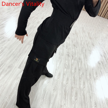 New Adult Men Professional Latin Dance Pocket Pants Rumba Tango Samba Dancing Practice Performance Costume Black Trousers - discount item  12% OFF Stage & Dance Wear