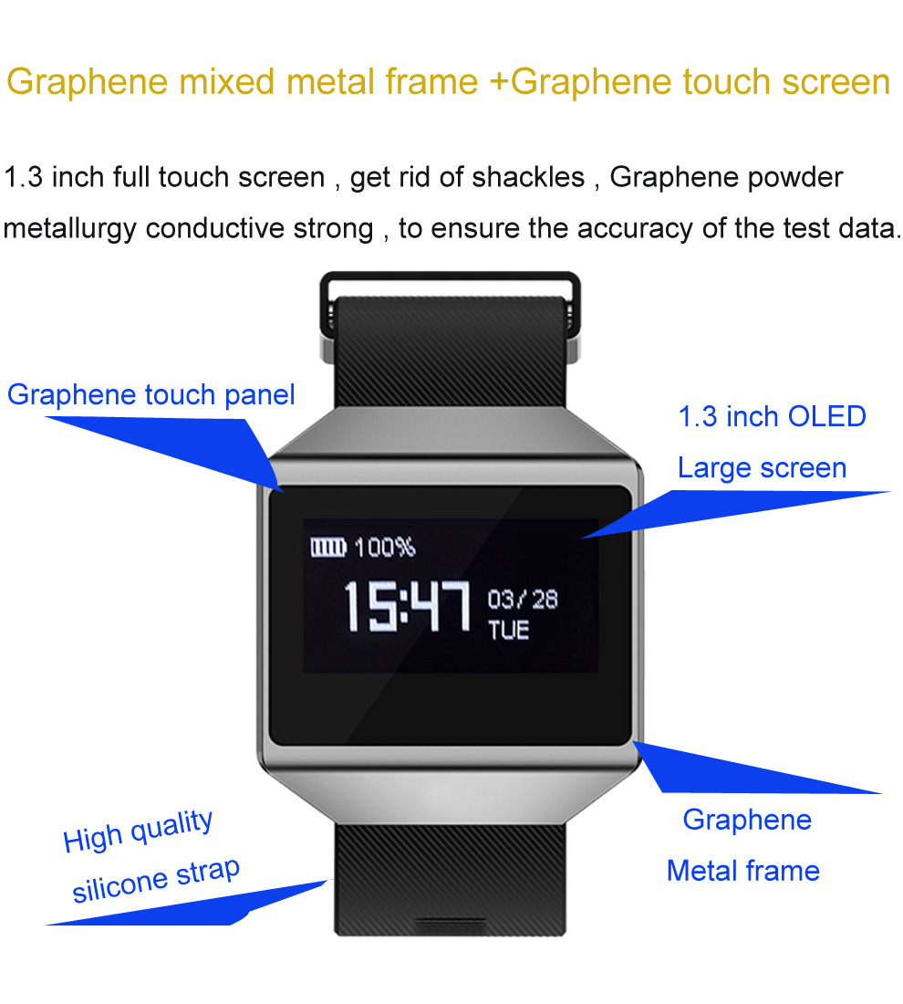 CK12 graphene smart watch ECG heart rate blood pressure sleep monitoring smart wristbands for android ios pedometer sport watch 6