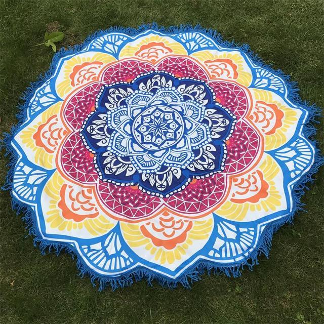 f5fc2e168fa0a Microfiber Towel Tassel Indian Mandala Tapestry Lotus Printed Bohemian Beach  Mat Yoga Mat Sunblock Round Bikini Cover-Up Blanket