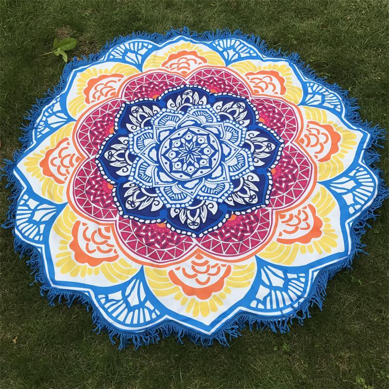 Mikrofaser Handtuch Tassel Indische Mandala Tapisserie Lotus Gedruckt Böhmischen Strandmatte Yogamatte Sunblock Runde Bikini Vertuschung Decke