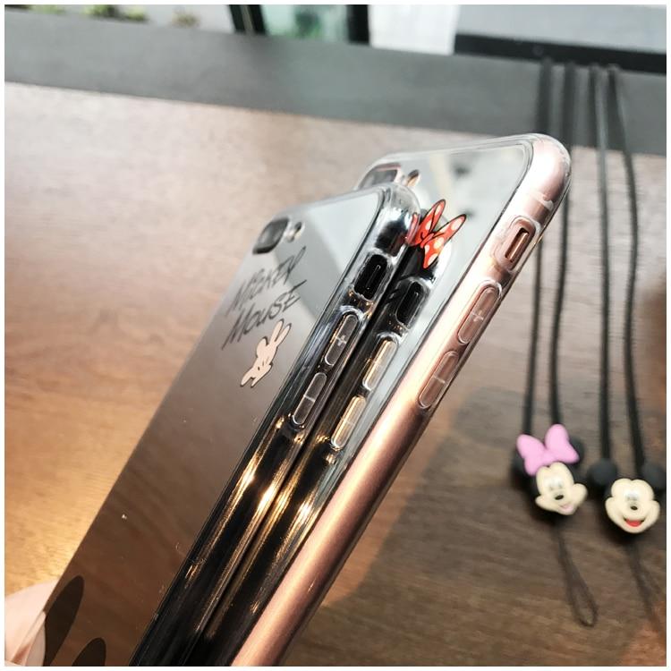 HTB1xUceiiwIL1JjSZFsq6AXFFXal - Minnie Mickey Mouse Mirror Case for iPhone 6 s 6S X 10 7 8 Plus 6Plus 6sPlus 7Plus 8Plus SE 5S Cover silicone PTC 333