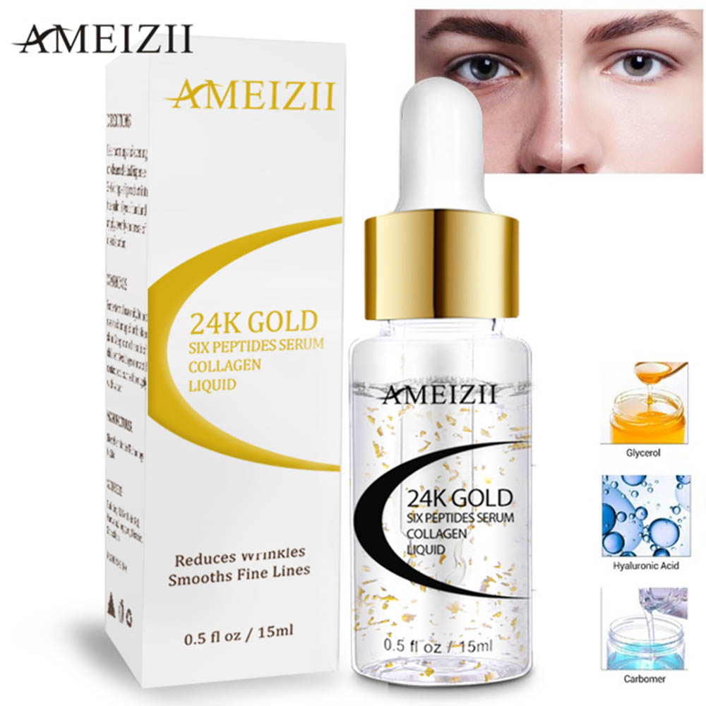 AMEIZII 24K Gold Six Peptides Serum Anti Wrinkle Collagen Whitening Face Cream Pure Hyaluronic Acid Skin Care Firming Essence 1pcs six peptides serum for striae anti wrinkle cream anti aging collagen rejuvenating face lift skin care