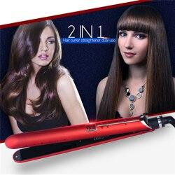 2 w 1 profesjonalny elektryczny turmalin ceramiczna prostownica do włosów lokówka i prostownica do włosów lokówka narzędzia do stylizacji włosów w null od Uroda i zdrowie na