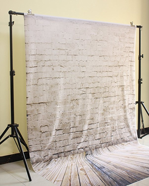 HUAYI 5x7ft Gray Brown Brick Wall Backdrop For Photography