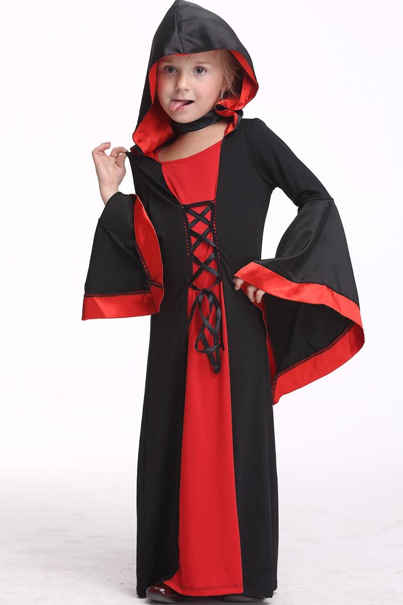 Girls Vampire Dress Halloween Costume Children Performance Dancewear Long Dress Cloak Long Sleeve Cosplay