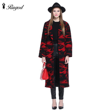 Winter Coat 2016 womens camouflage Jacket red wool Coat fashion design Deer embroidery Coats manteau femme