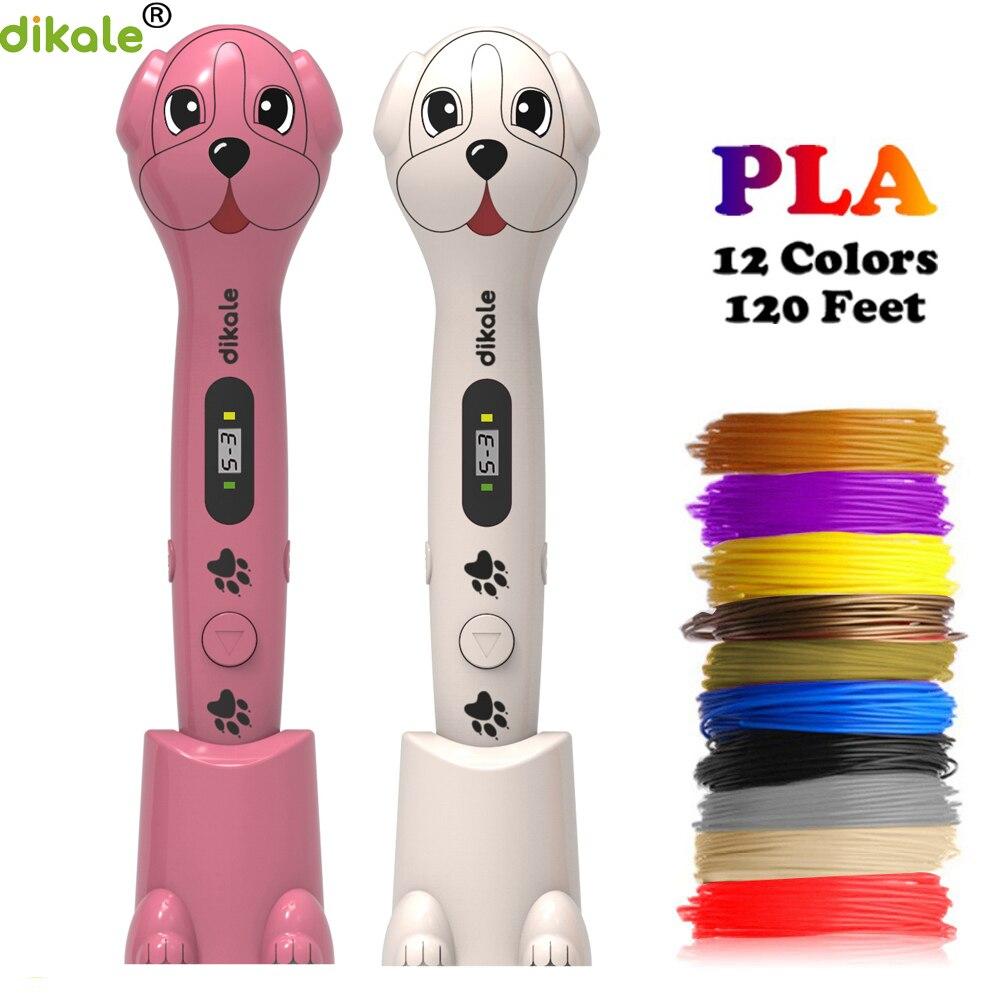 Dikale 3D imprimante stylo LCD affichage 1.75mm PLA Filament magique stylo Arts et artisanat 3D stylo modèle 3D enfants cadeau stylos pour dessin