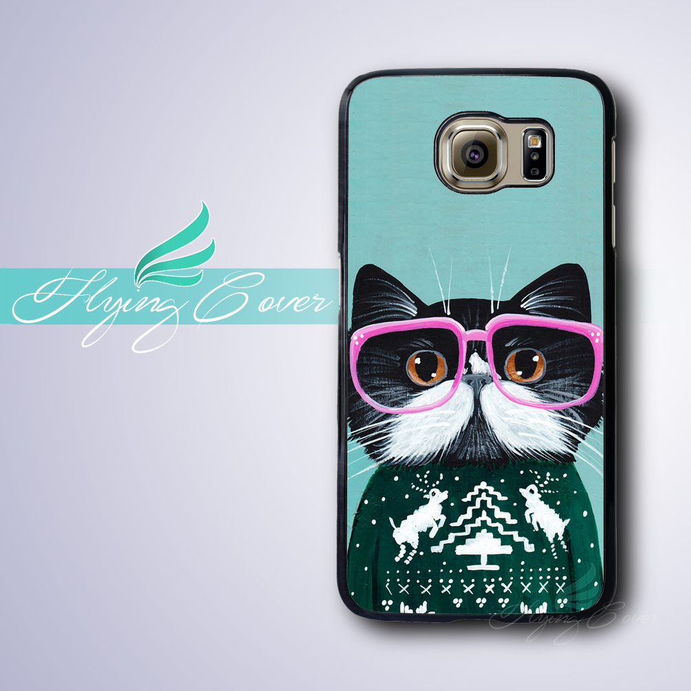 Coque Tumblr Cat in Sweater Phone Cases for Samsung Galaxy S4 S5 S6 S7 Active Mini Housing for Samsung Galaxy Grand Prime Cover.
