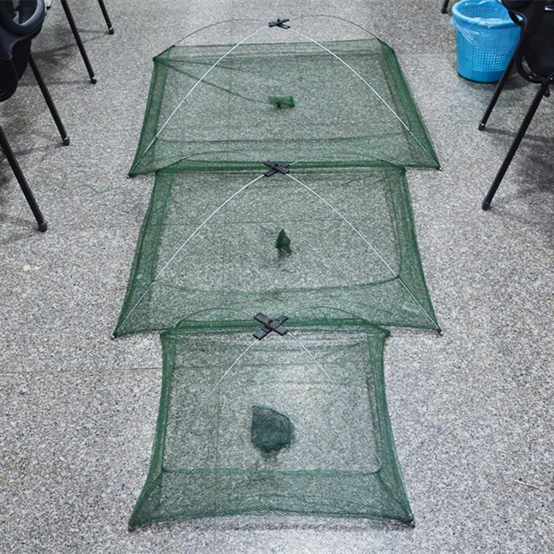 Folding Nylon Square Fishing Net Baits Trap Dip Net For Catching Shrimp Crab Fishes Fishing Network 60x60cm 80x80cm 100x100cm