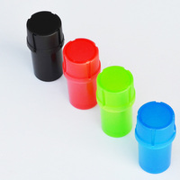 50 Pcs/Lot 2 in 1 Multi function Tobacco Plastic Herb Grinder Tobacco Storage Spice Crusher Hand Muller Mixed Color,Wholesale