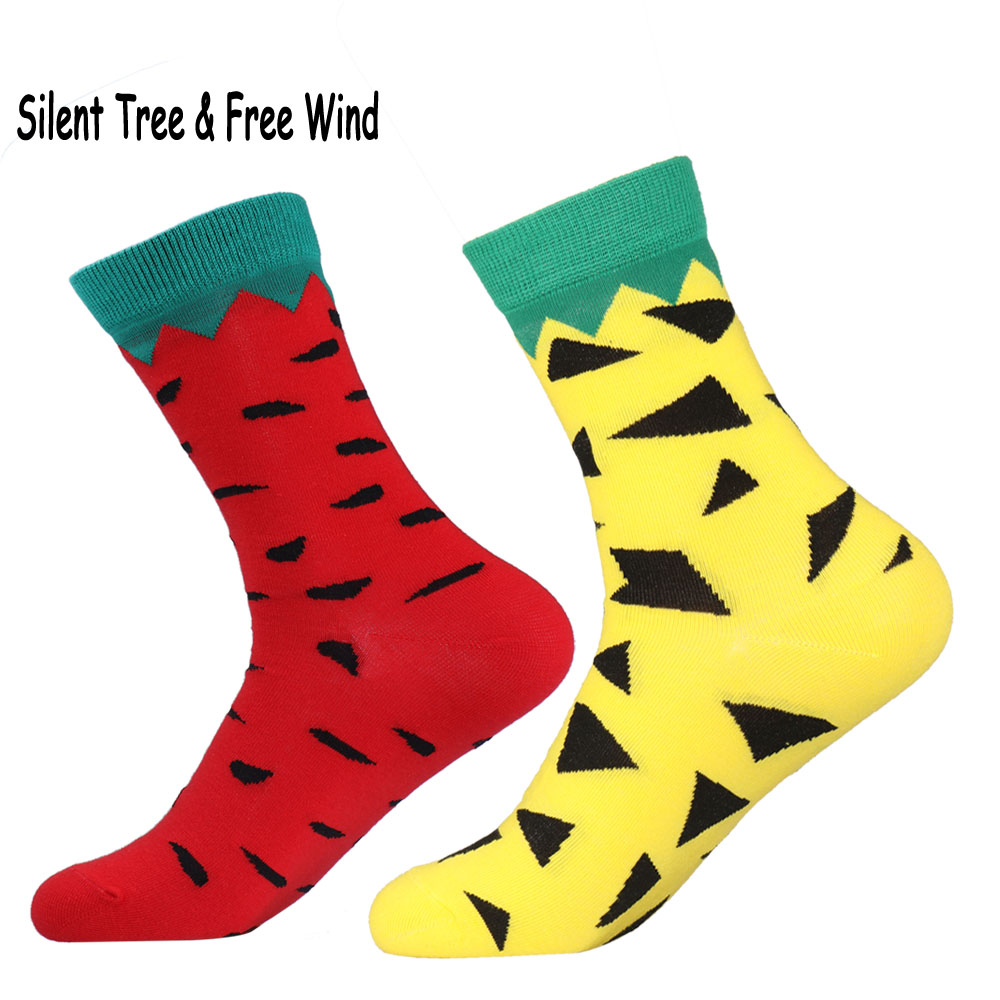 Fun Women Men Fruit Watermelon Pineapple Crew Socks Novelty Funny Cute Fruits Couple Cotton Socks