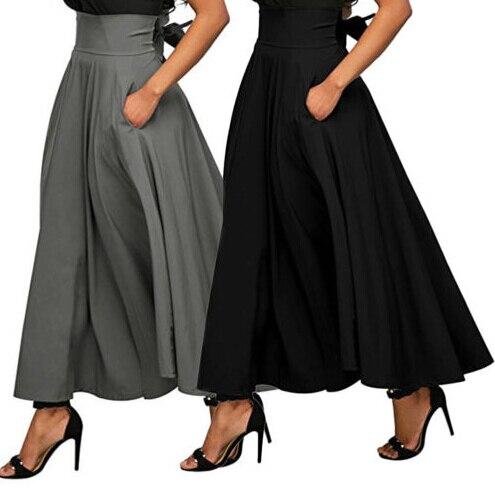 Women's Clothing Women Stretch High Waist Skater Bandge Flared Pleated Swing Long Skirt With Belt Bottoms