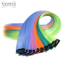 Neitsi 20'' 5pcs/pack Single Clip In One Piece Synthetic Hair Extensions Straight Hairpiece Pure Color neitsi 20 5pcs pack straight long single clip in one piece ombre synthetic hair extensions pure color hairpiece for women