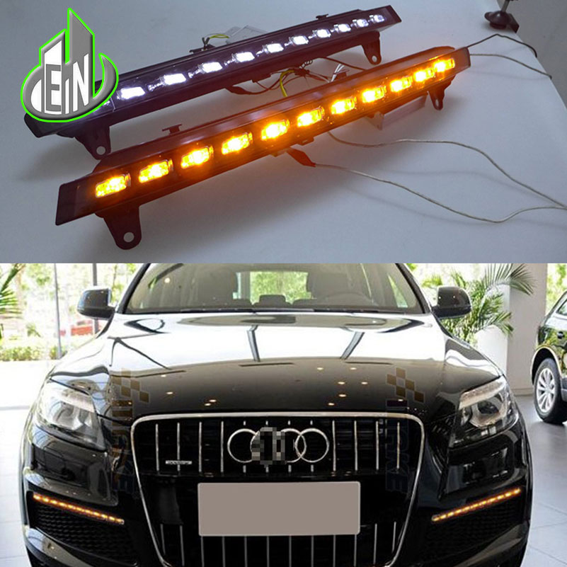 EN 2PCs/set Auto LED DRL set Daylight Car Daytime Running lights For Audi Q7 2005 2006 2007 2008 2009 2010 new auto car led daytime running lights drl yellow turn signal fog lamp for audi q7 2006 2007 2008 2009