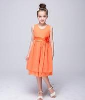 Children Designer Summer Wear Kids Sleeveless A Line Dresses For Girls Little Flower Beach Party Sash