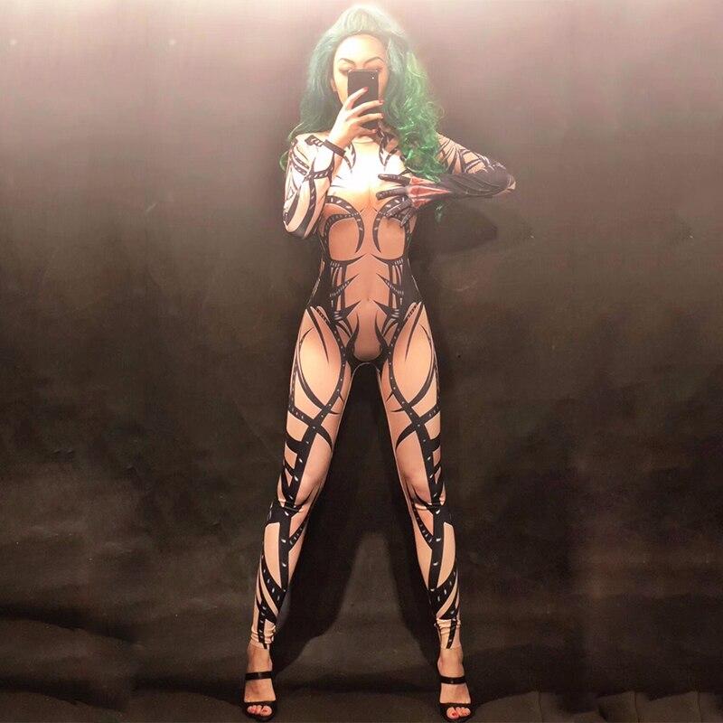 Women Men Stage Skin Color Jumpsuit 3D Printed Black Totem Bodysuit Nightclub Party Celebrate Dancer Singer Stage Wear DNV10285