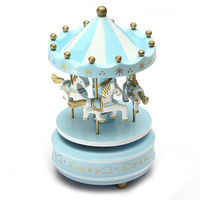 Musical Carousel Horse Wooden Carousel Music Box Toy Child Baby Light Blue Game