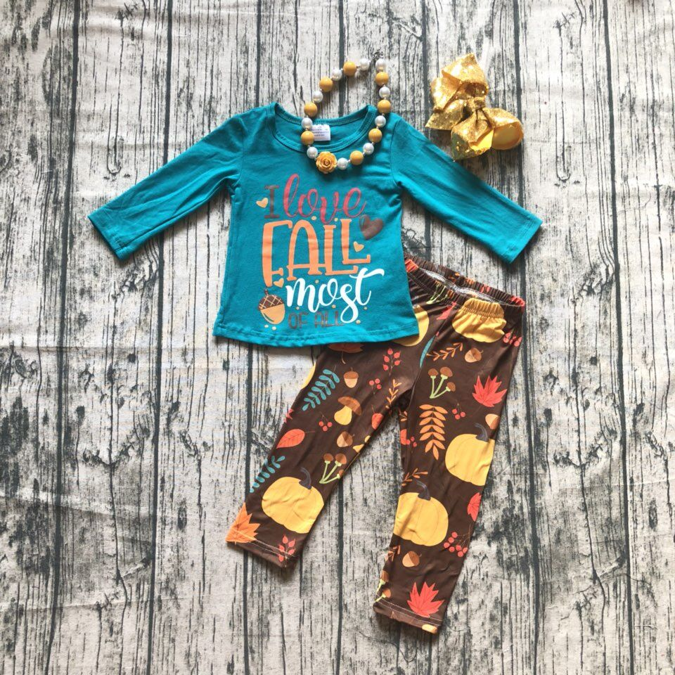 купить Fall/Winter baby girls outfits i love Fall most of all jade pumpkin floral children clothes ruffle boutique match accessories недорого