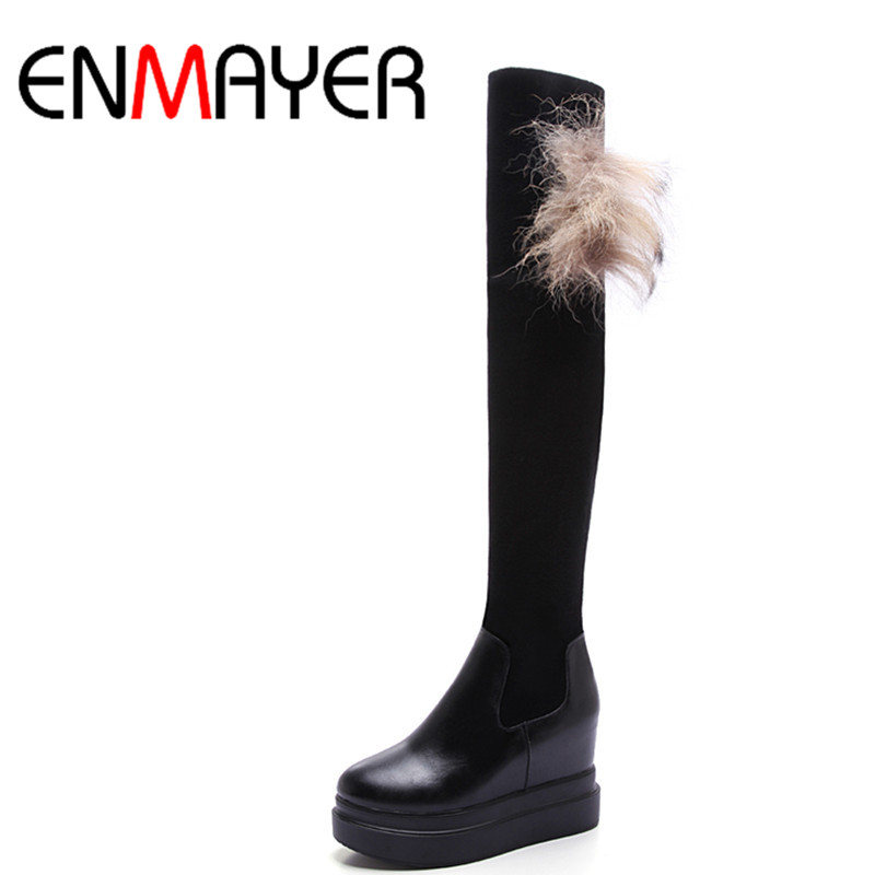 ФОТО ENMAYER  New Brand Women Boots Shoes Woman 2 Colros White Shoes Winter Over-the-knee high Boots Women high heels platform Boots