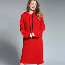 Euramerican новый зимний большой Размеры Женская одежда свободные Модные капюшоном Hairball вязаный свитер платье плюс Размеры утепленные платья