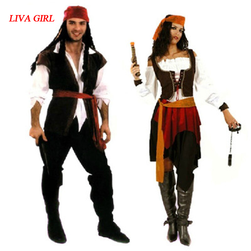 84c1c1bd0617 US $25.76 11% OFF|New Men women Male Pirates Costume Jack Sparrow  Masquerade Cosplay Pirate Costumes Halloween Carnival Fancy Dress Party  Supplies-in ...