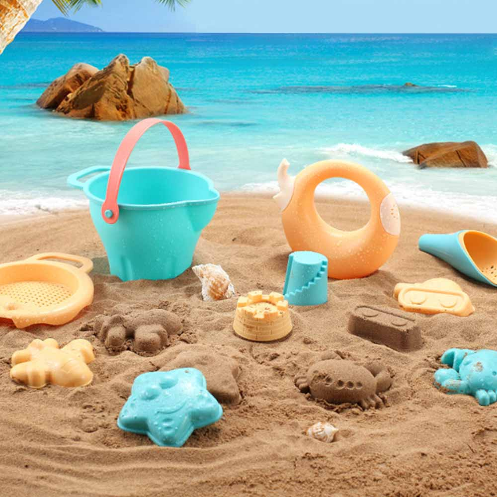 Plastic Beach Toys For Children SandBox Set Kit Sea Sand Bucket Rake Hourglass Water Table Play And Fun Shovel Mold Summer