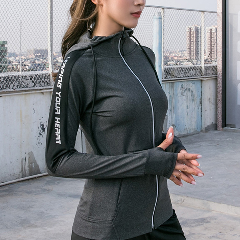 Womens Athletic Hoodies Zip Up Long Sleeve Casual Sports Running Tops Thumb Hole