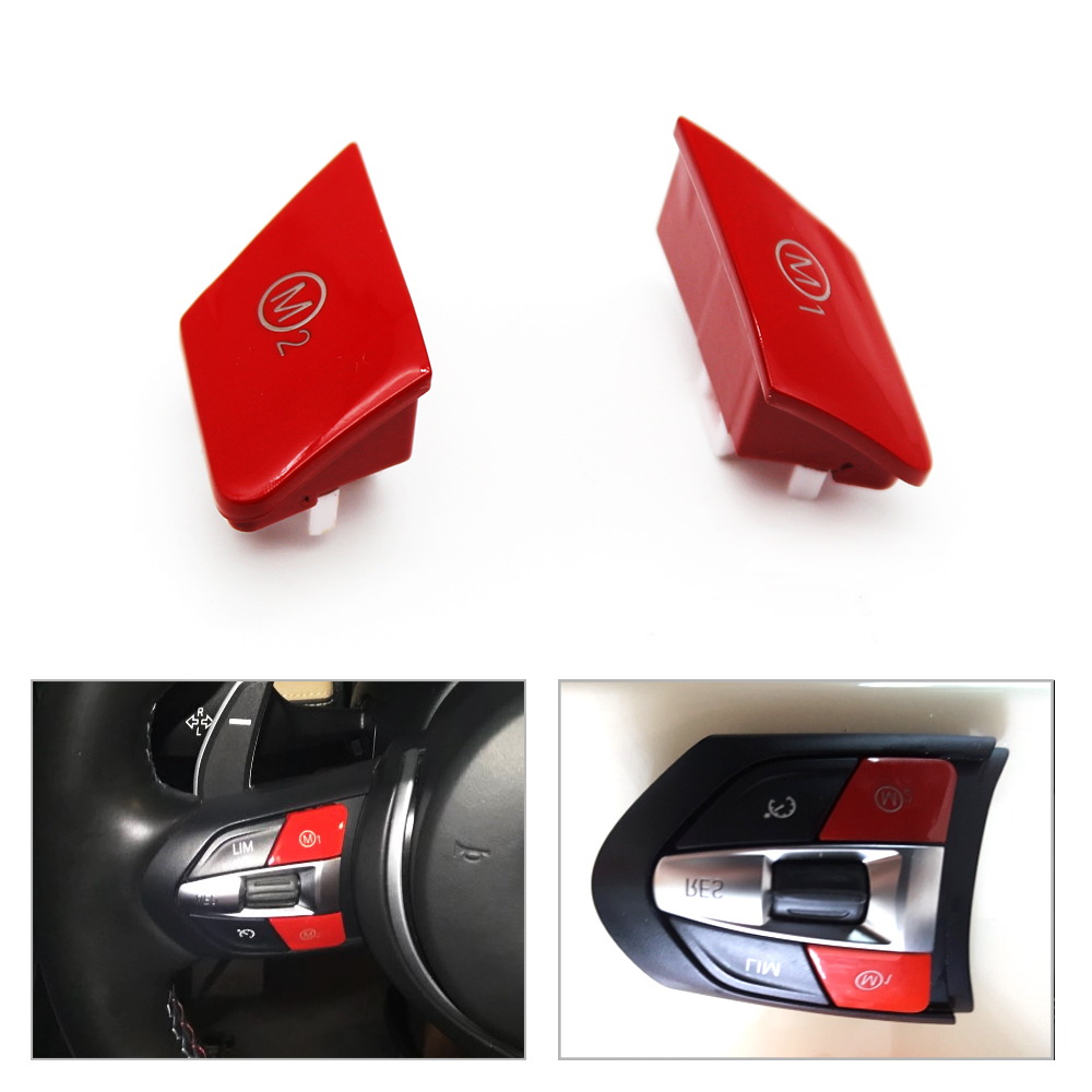 2pcs Car Steering Wheel Button Personalized Red Button m1m2 Mode Button Custom Red Switch Button For BMW M3 M4 F80 F82 F83