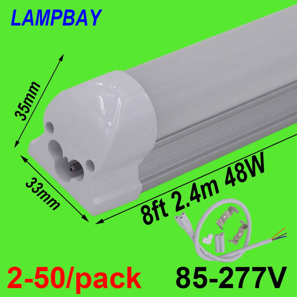 2 50 pack LED Tube Light 8 foot 2 4m T8 Integrated Bulb Fixture 40W 48W 8ft Bar Lighting Wall Lamp with fittings 110V 220V 277V in LED Bulbs Tubes from Lights Lighting
