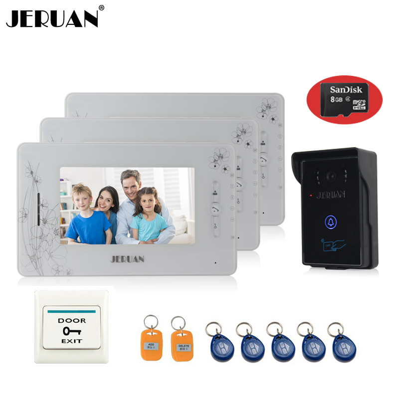 JERUAN 7 inch  video door phone intercom system 3 montiors 1 camera access control system video recording photo taking+8GB Card 300m wireless 7 inch video door phone wireless intercom system access control