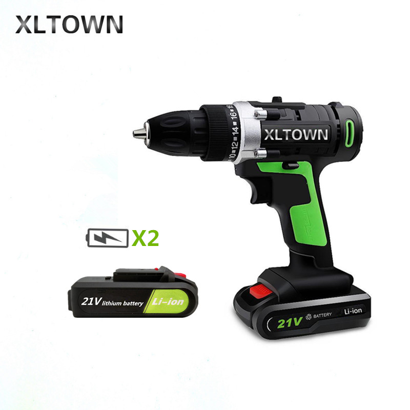 XLTOWN new 21v Home Cordless Electric Drill with 2 battery Multi-Motion lithium battery Rechargeable Electric Screwdriver xltown new 21v home cordless electric drill with 2 battery a box multi motion lithium battery rechargeable electric screwdriver