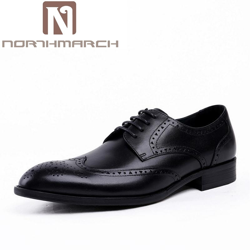NORTHMARCH Design Real Eather Mens Formal Business Shoe Men Breathable Dress Shoes Lace-Up Driving Flats Zapatos Para Hombres 2017 new spring imported leather men s shoes white eather shoes breathable sneaker fashion men casual shoes