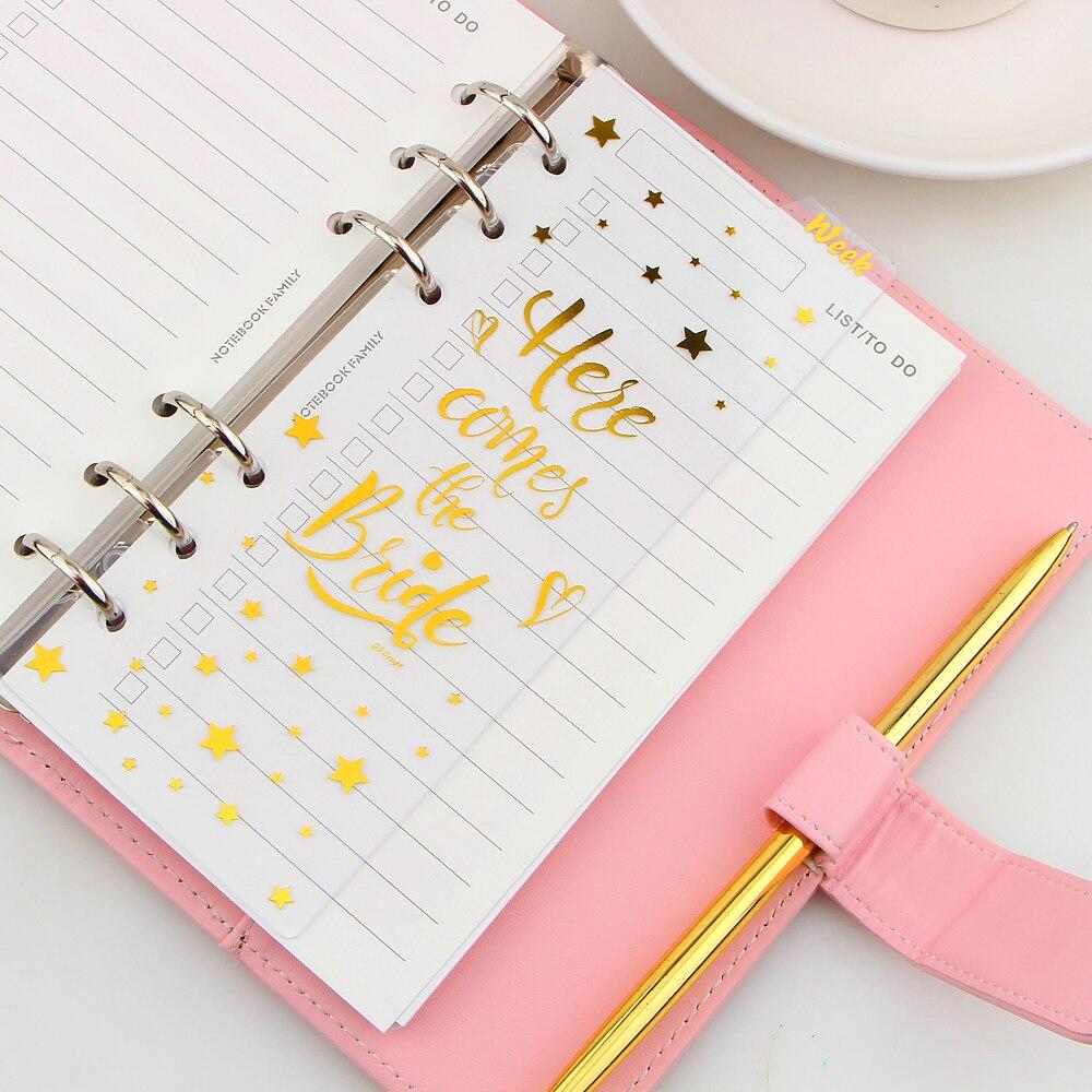 Notebooks A6 6 Löcher Gold Notebook Lose Blatt Transparent Pp Separator Seiten Monat/wöchentlich/tagebuch Plan Notebook Papier Im Inneren Seiten Elegant Im Stil