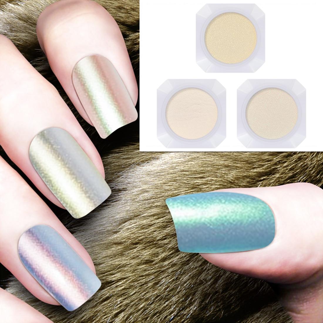 3 Colors Mirror Powder Tips Art Shining Nail Glitter Pearl Shimmer Nail Dust Powder 2g/Box Mermaid Manicure Nail Art Dip Glitter