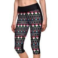 Summer Styles Sexy Women S 7 Point Pants Christmas Hat Loving Tree Nation Digital Print Women
