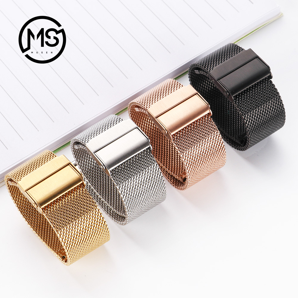 MU SEN Milanese Watchband 18mm 20mm 22mm 24mm Universal Stainless Steel Metal Watch Band Strap Bracelet Black Rose Gold Silver top quality new stainless steel strap 18mm 13mm flat straight end metal bracelet watch band silver gold watchband for brand