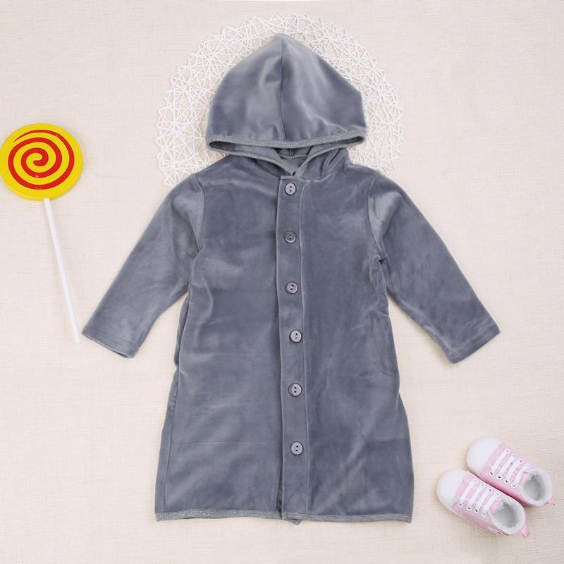 Spring Kids Long Sleeve Fleece Home Nightgown Hooded Windproof Long Coat Kids Clothing Winter Coat Soft Warm long Coat